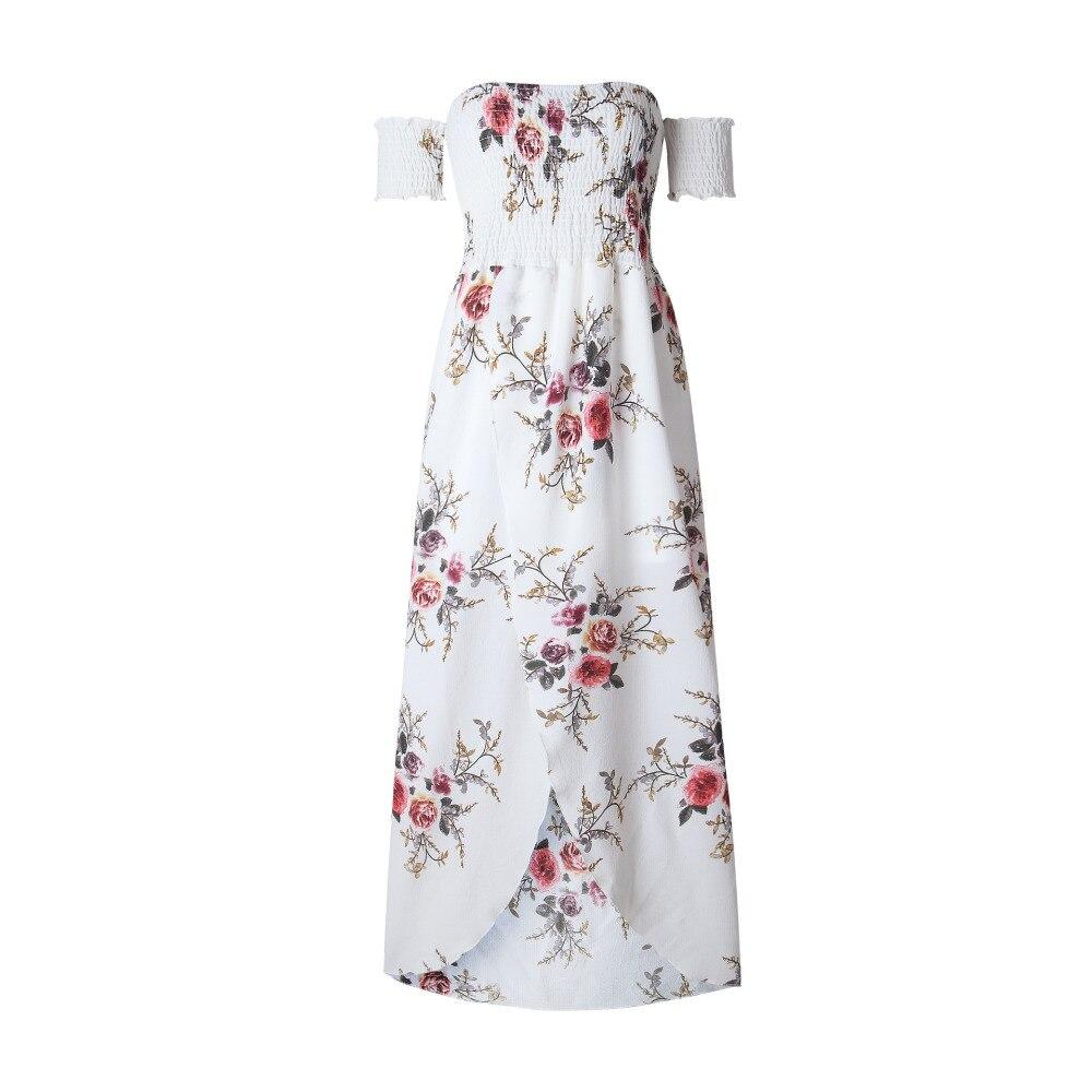 LOSSKY Off Shoulder Vintage Print Maxi Summer Dress 12