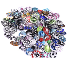 Wholesale 20pcs/Lot High Quality Mix Styles 18mm Metal Snap Button For Bracelets Charm Rhinestone Button Ginger Snaps Jewelry