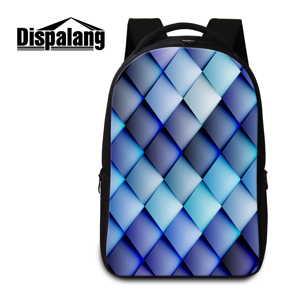 Dispalang 3D print plaid women backpack for teenage girls large capacity school bookbags for students mens new laptop backpacks<br>