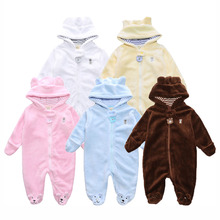Cartoon Coral Fleece Newborn Baby Romper Costume Baby Clothes Animal Overall  Winter Warm Long sleeve Baby Jumpsuit MBR017