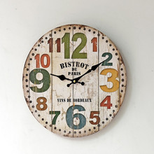 BISTROT DE Paris Wall Clock American Style Mute Wood Circular Clocks Sitting Room Home Decorative 35*35cm(China)