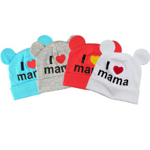 2017 New I love mama print newborn baby boys girls winter hat cap baby crochet bonnet cute cotton Knitted warm hat kids beanie(China)