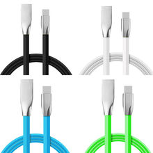 100pcs/lot Zinc Alloy Type-C USB-C Fast Sync Data Charging Cable Line Cord For Mobile Phone Accessory Bundles Charger(China)