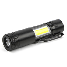 2017 New  2000 Lumen Mini Flashlight CREE Q5 LED+COB LED Torch Lamp Clip Penlight 4 Modes For AA/14500 Battery