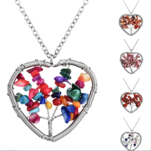 LNRRABC Sale Women Ladies Tree Of Life Natural Multicolor Love Heart Pendant Necklace Fashion Jewelry