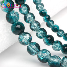 Buy OlingArt Glass Bead Peacock Blue Round 6/10MM 30Pcs Crack Beads mix Crystal spacers DIY Bracelet necklace jewelry making 15# for $1.60 in AliExpress store