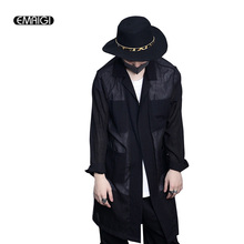 Spring Summer New Men Trench Coat Cotton Linen Long Style Male Fashion Casual Thin Trench Jacket Mens Loose Hiphop Outwear