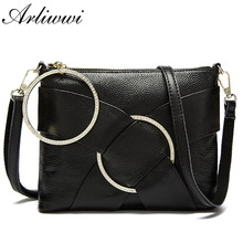 Arliwwi Arliwwi Brand Graceful Lady Diamond Ring Evening Cluth Bags 100% Genuine Cow leather 6 Colors Crossbody Handbag S2521