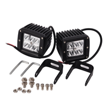 2Pcs White 18W High Quality Car Styling Spot Square LED Cube Work Light Driving Fog Offroad Car SUV 4WD Truck 12x9x8cm