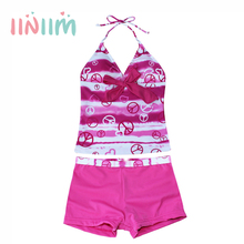 2017 Summer Children's Clothing Set Hot Pink/Blue Girls Heart Print Swimsuit Halter Tankini Top With Pants Set SZ 8-16Y