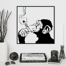 Fashion Black White Smoking Gorilla Animal Art Prints Poster Personalized Wall Picture Canvas Painting No Frame Bar Home Decor(China)