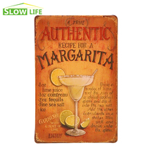 "A True Authentic Recipe For A Margarita Vintage Home Decor Tin Sign 8""x12"" Bar/Pub Wall Decorative Metal Sign Retro Metal Poster"