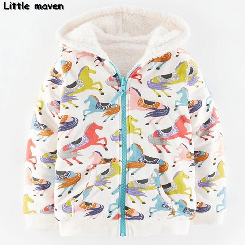 Little maven winter girls brand clothes children warm cotton horse print Hoodies &amp; Sweatshirts  WY065<br>