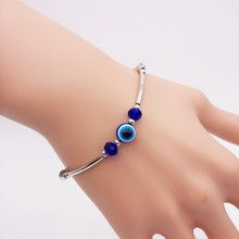 fashion all-match Evil Eye colorful crystal beads silver color chain charm Bracelets women