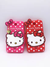 New 3D Cartoon Hello Kitty Case Pendant Bowknot Soft Silicon Cover for Nokia Lumia 430 Rubber Phone shell