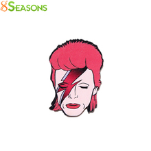"8SEASONS New Safety Pin Brooch Fashion Characters Lighting Unisex Garment Acrylic Jewelry 6.4cm x4.4cm(2 4/8"" x1 6/8""), 1 Piece(China)"