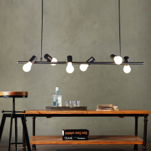 One meter long Black Iron 6 heads Pendant light Nordic personality store Cafe lamps bird art restaurant wine bar lights