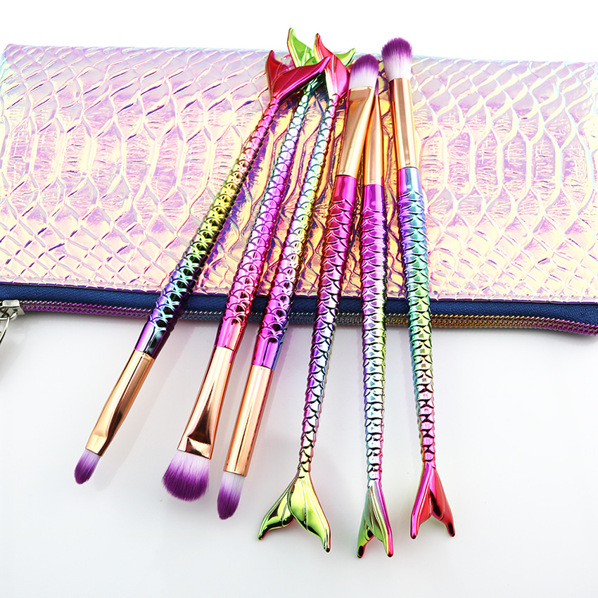 Glitter Mermaid Makeup Brushes + Organizer Bag Set