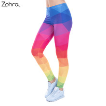 Zohra Autumn Winter Leggings Printed Women Legging Colorful Triangles Rainbow Legins High Waist Elastic Leggins Silm Women Pants(China)