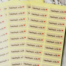 "100PCS/lot ""Hand made with heart""kraft paper seal stickers for handmade products diy bakery packsge label Adhesive Sticker"