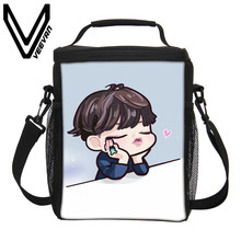 VEEVANV Brand 2017 BTS Cartoon 3D Insulated PU Print Lunch Bags BTS Cartoon Cooler Picnic Food Bags Fashion BTS Picnic Lunch Bag