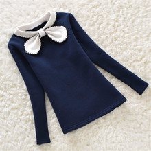 BibiCola 2017 Girls Sweater Winter Children Clothing Plus Velvet Candy Colors Sweater Kids Girls Outerwear Warm Bottom Clothes