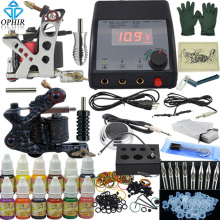 OPHIR 325Pcs/set PRO Complete Tattoo Kit 2 Tattoo Gun Machine Real Tattoo Kits12 Color Tattoo Inks 50 Needles Power Supply_TA004(China)