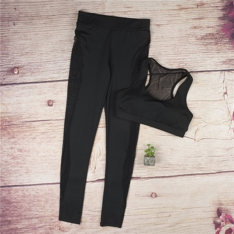 Black Net Yarn Patchwork Tracksuit Crop Top And Leggings 14
