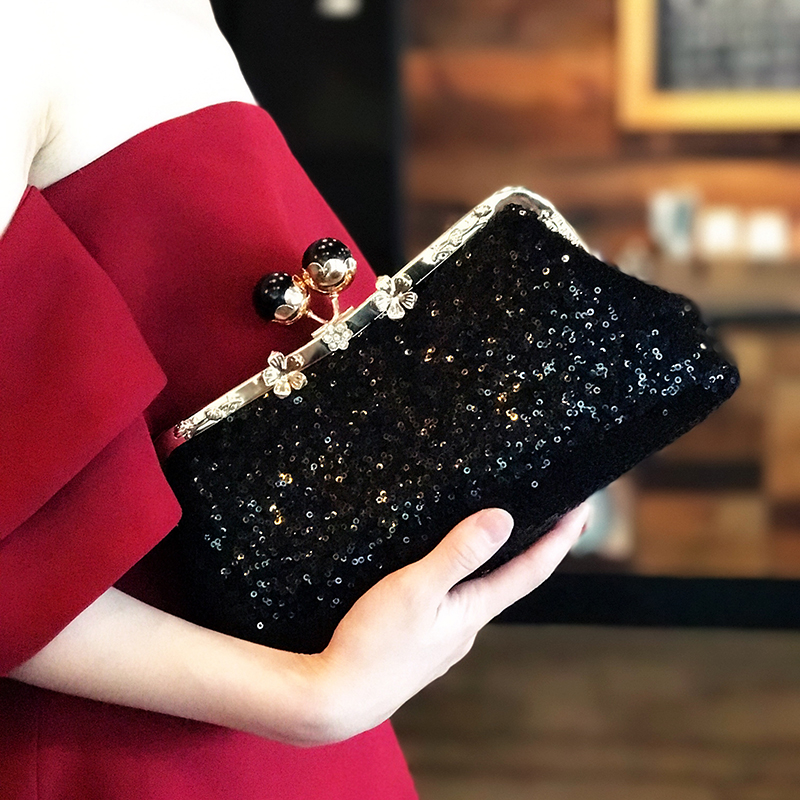 RUBIHOME Handmade DIY Crafts Material Black Sequins For Women Clutch Purse Frame Banquet Wedding Purses Chain Bags(no finished)