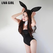 Buy Liva Girl New Arrivals Sexy Lady Black Bunny Lingerie Bunny Girl Sexy Costumes Intimate Sex Products Erotic Lingerie