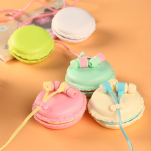 Cute Candy Color Earphones with Macaron case box for girls Kids 3.5mm Earbuds for iPhone Samsung Huawei MP3 iPod