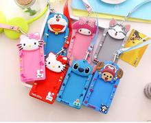 2016 New 12*6.5CM Cartoon Silicone ID Card Holders Work Card Bus card Access card hanging neck sleeve lanyard whosales