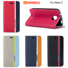 Karribeca flip wallet leather case For Moto C cases colorful tone phone cover for moto c coque capas etui kryty puzdra tok husa(China)