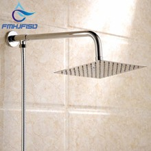 Free Shipping Polished Wall Mounted Square Rain Shower Head Stainless Steel Hose Wall Shower Arm Round Style(China)