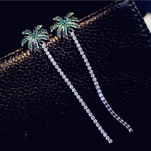 Silver Color Green Crystal Coconut Tree Drop Long Earings for Women Cubic Zirconia  Style Fashion Creative Jewelry High Quality