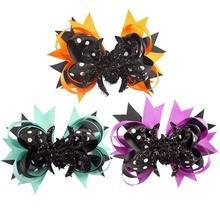 "5"" Halloween Spider Hair Clips Toddler Baby Kids Ribbon Alligator Hair Bows With Clips Children Craft Gift"