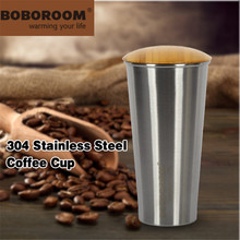 Stainless Steel Tumbler Pint 500ML Metal Hand Cup Cups With Wooden Lid BOBOROOM Coffee Mugs Bar Wine