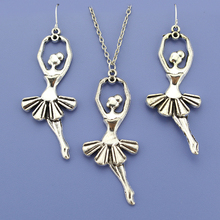 "Fashion  Women Jewelry Set Vintage Silver Ballet Girl Gift Earring Pendant Short Necklace 18"" Free Shipping Wholesale Lot DY72"