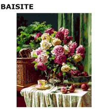 BAISITE DIY Oil Painting By Numbers Frameless Pictures On Canvas Modern Wall Pictures Art For Living Room Home Decoration H539(China)