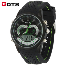 OTS Brand Men LED Digital Military Black Watch Dress Fashion Sports Quartz Silicone Band Mens Boys Watches Relojes Hombre 2016(China)