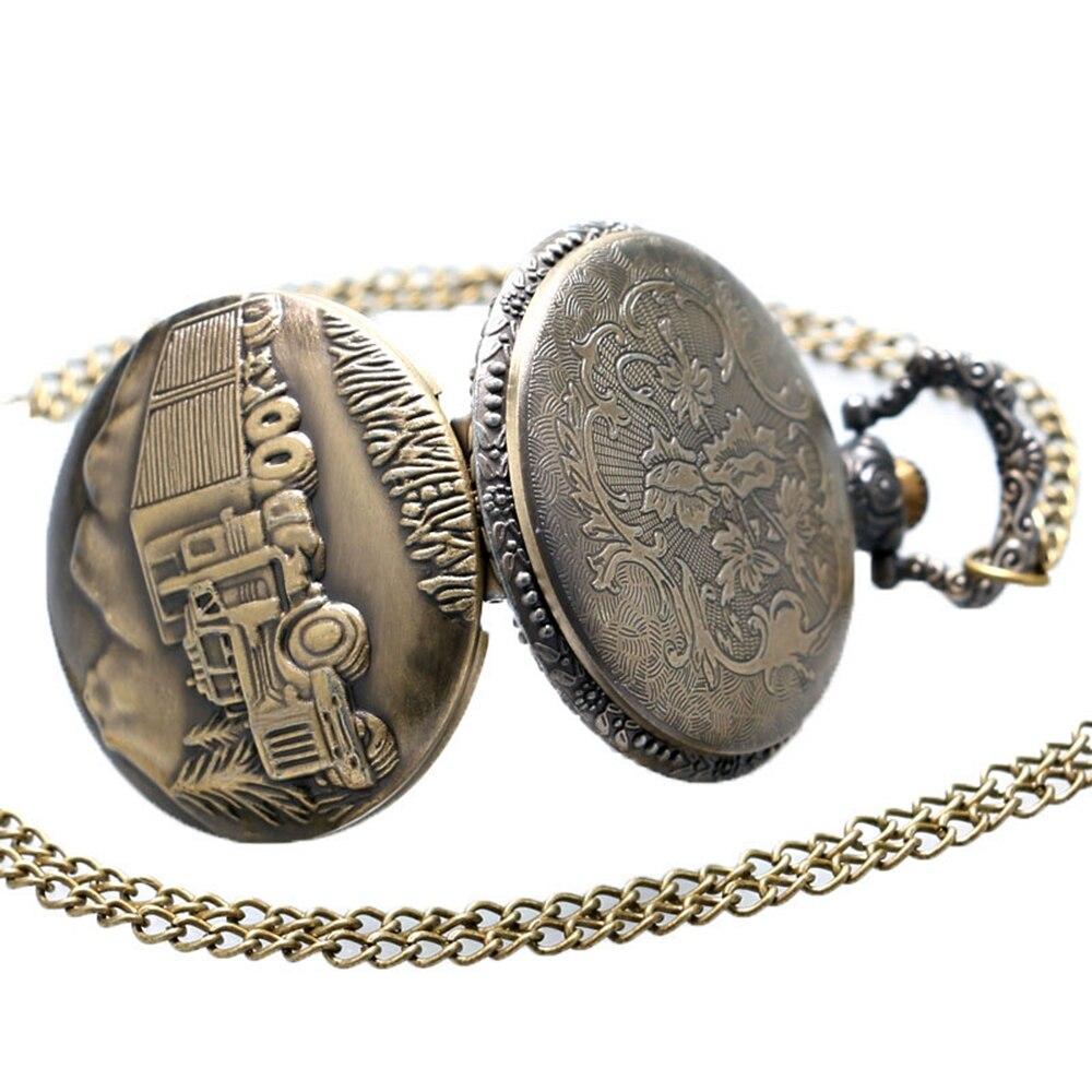 Full Hunter Bronze Unisex Pocket Watch Men Women Vintage Necklace Pendant Quartz Watch Clock Ship from USA Mini Clock Gift Watch (5)