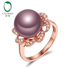 New collection 18k Rose Gold precious 11-12mm Round Freshwater Pearl Ring 0.17ct Natural Diamond manufacturer(China)