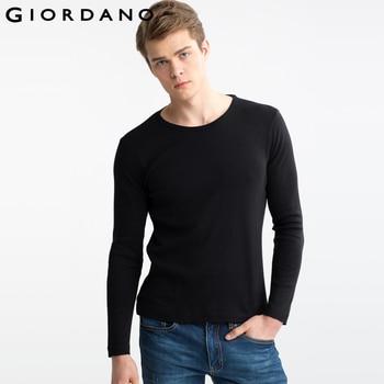 Giordano homens t-shirt t-shirt de algodão de mangas compridas t casual clothing tees marca crewneck tees t-shirt cor sólida