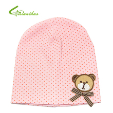 Babys Hat with Bear Baby Head Cap with Cute Little Bear Pattern Babys Cotton Cap Spring & Autumn Kids Gift Free Shipping TM002