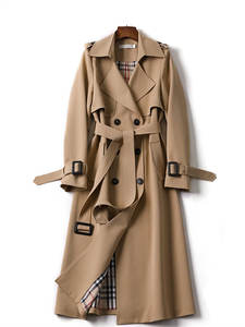 Outerwear Trench-Coat Spring Double-Breasted-Belt Classic Long Women Fashion High-Quality