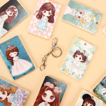 Pvc Business Card Cover Bus Bank Id Case Holder Lovely Characters Cartoon Key Hook Keys Chain Student Cards Pouch Bag New(China)