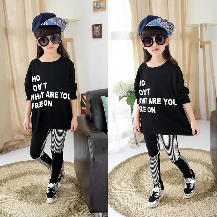 Autumn Costume For Girls Spell Color Print Letter Children Clothing Sets Long Sleeve Casual Vetement Enfant Fille Two-piece Wear<br><br>Aliexpress