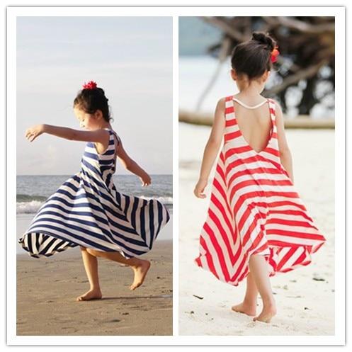 2017 summer full dress spaghetti strap one-piece dress stripe child bohemia beach dress girl<br><br>Aliexpress