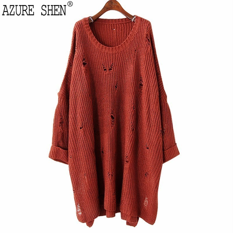 [AZURE SHEN]Winter Loose Hole Women Dress 2018 Spring Casual Long Sleeve Solid Color Pullover Splirt Fork Knitted Vestidos KA244Îäåæäà è àêñåññóàðû<br><br>