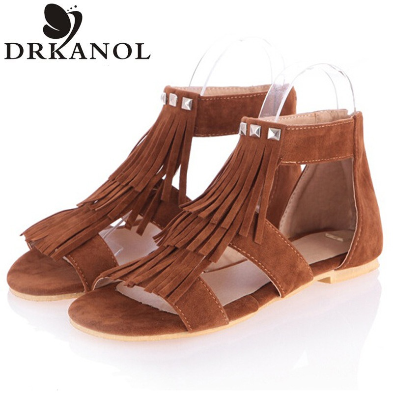 Hot sell tassel sandals women summer shoes fashion flat heel rivet gladiator sandals solid fretwork large size women shoes 35-43<br><br>Aliexpress